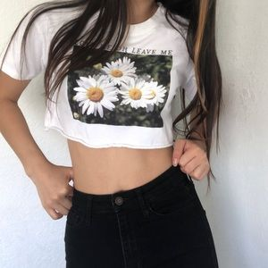White cropped tee with graphic designs